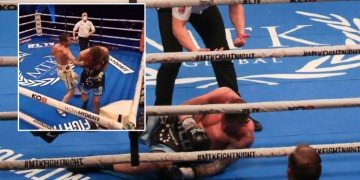 He's behind you: Fans blast ref after defenseless fighter is knocked out from behind in bizarre end to boxing title bout (VIDEO)