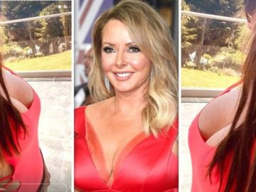 Carol Vorderman, 60, leaves little to the imagination as she spills out of risqué swimsuit