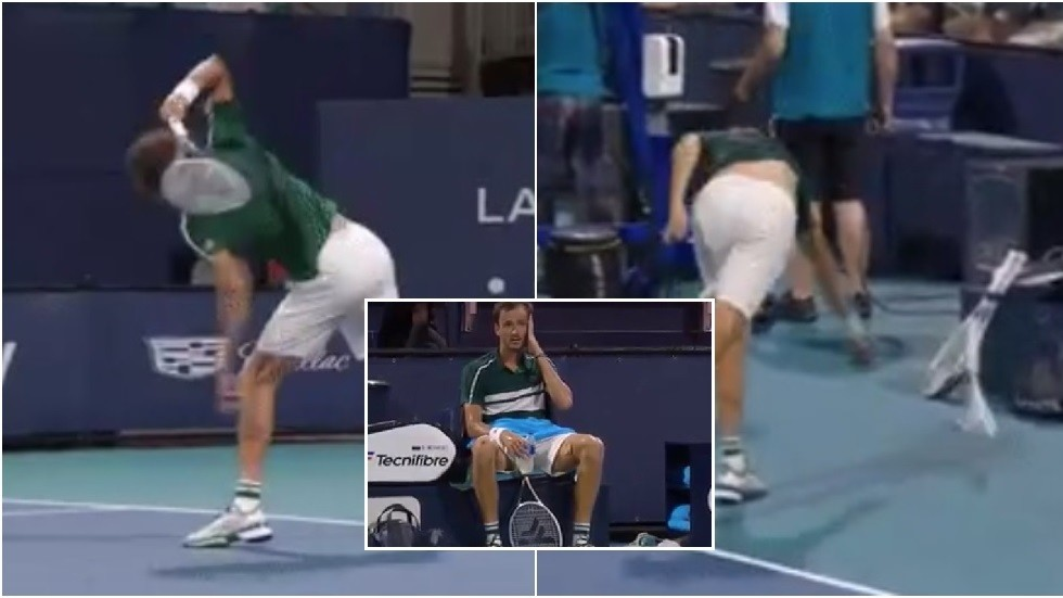 Feeling the heat: Russian top seed Medvedev in epic meltdown in Miami as he crashes out to Bautista Agut (VIDEO)