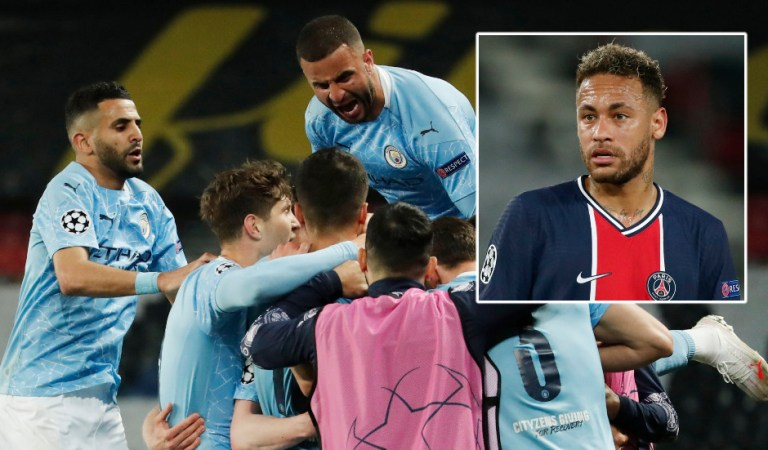 Manchester City eye first Champions League final after scoring twice in eight minutes to beat Paris Saint-Germain in final four