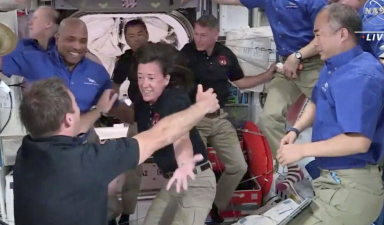 4 Astronauts Float Into the International Space Station and Open Arms