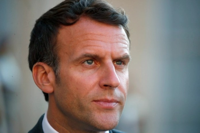 Macron was hit in the face