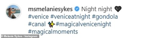 Charming: Later in the day, she captured the romantic Venice buildings from a gondola and penned: 'Night night [black heart emoji] #venice #veniceatnight #gondola #canal'