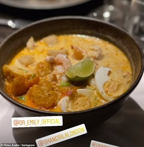 Scrumptious: The couple splashed the cash on multiple dishes including perfectly cooked scallops, Singapore curry laksa, lobster benedict and a sumptuous rice dish