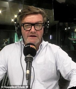 Support network: Page told his co-hosts Lawrence Mooney (pictured) and Jess Eva he hoped speaking out would help eradicate the stigma surrounding rehab and addiction
