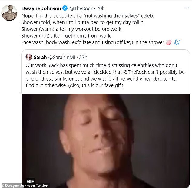 Details: When a Twitter user brought up the subject Dwayne, 49, wrote: 'Nope, I'm the opposite of a