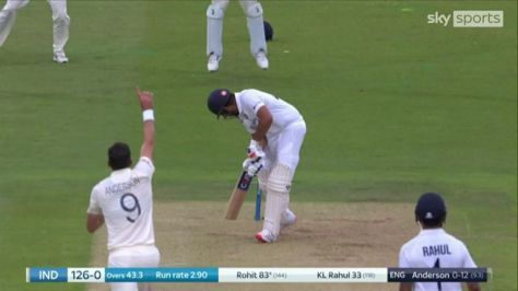 James Anderson produced a beautiful delivery to pick up the wicket of Rohit Sharma for 83