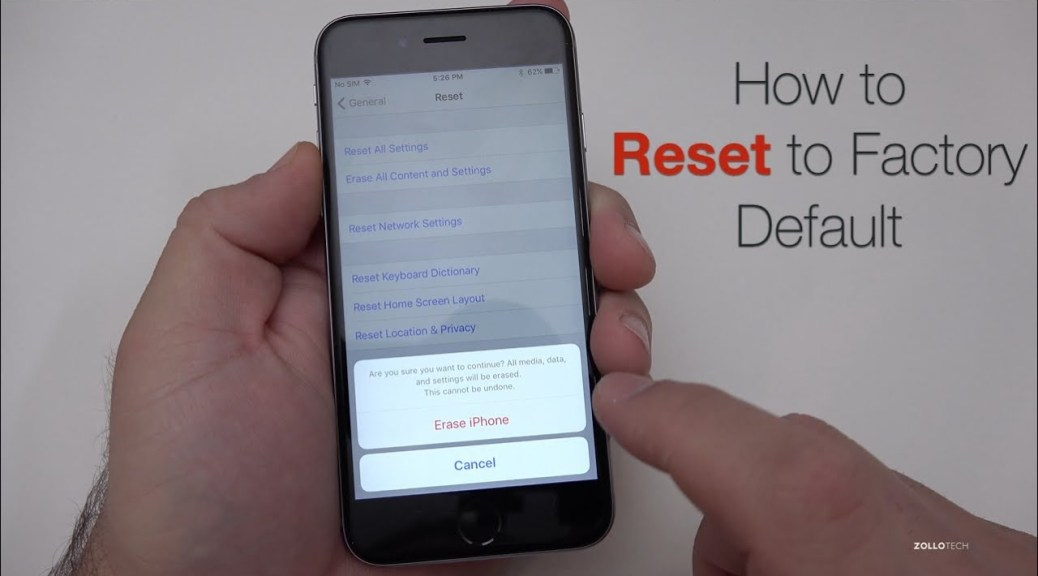 Resetting your iPhone to its factory settings