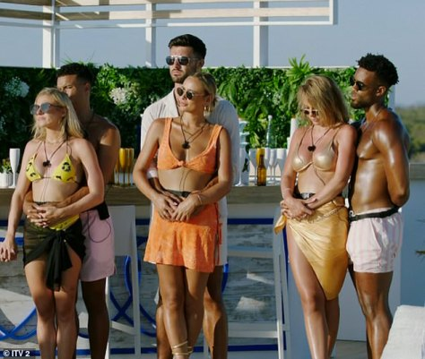 Decision:Spoilers for Sunday night's show reveal that the group's romantic dinners will be abruptly interrupted by a text which asked them to vote for the couples who they think are the least compatible (pictured last week)