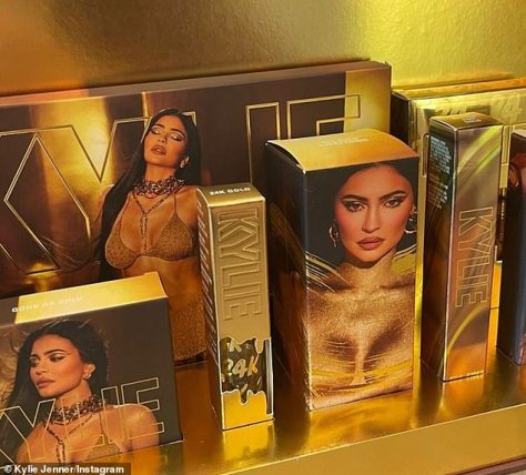 Gold is good for Kylie: She looked ravishing on the packaging that had gold boxes