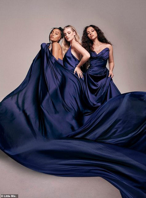 Stunning: To mark their 10th anniversary, the group - comprising Perrie Edwards, Jade Thirlwall and Leigh-Anne Pinnock - have unveiled their seventh studio album, 'Between Us'