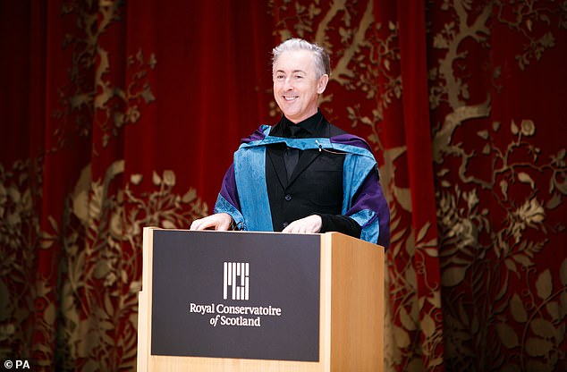 Making a speech: Accepting the award at a small ceremony, the Hollywood actor said: 'I feel very moved today on receiving this honorary doctorate'