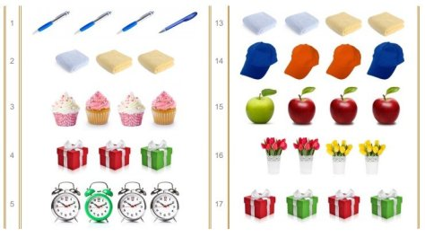 Groups of three or four colorful objects in a computer image, including apples, hats, and pens