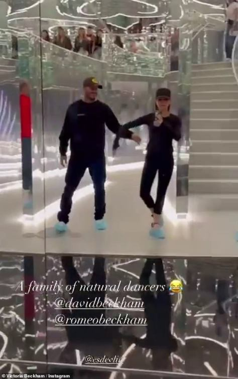 Good times: While Romeo, 18, and Harper, 10, were also seen getting in on the act as the family larked about at the exhibit, with Victoria hilariously captioning the video: 'A family of natural dancers'