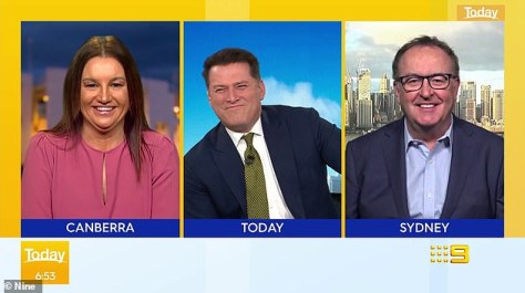 Low blow: During a panel discussion, politician Jacqui Lambie (left) and 2GB host Chris Smith (right) took potshots at Karl as they mocked his weight and 'love handles' on air