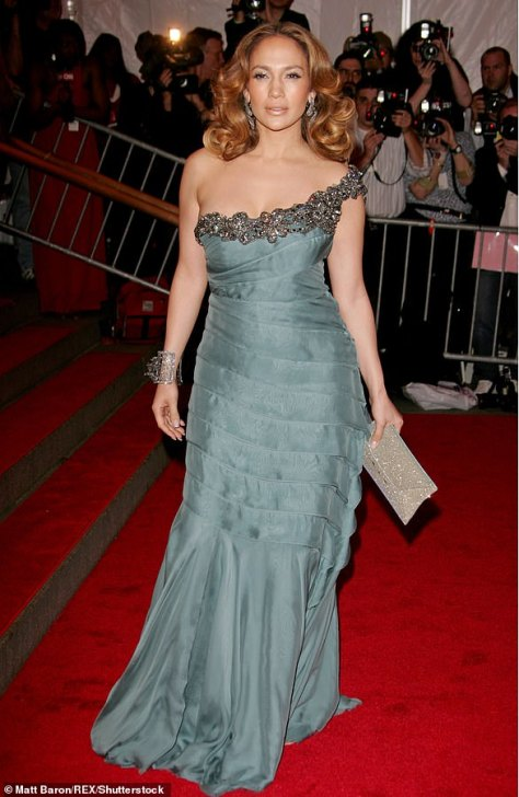 2008: In the year 2008 the Wedding Planner actress went with a more feminine look as she had on a dusty green one-strap gown with heavy embellishments on the neckline and several folds