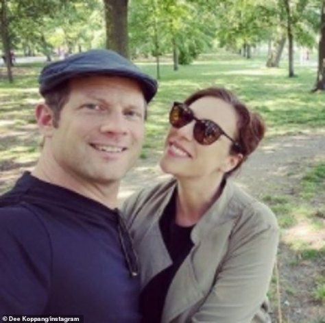 Sweet: Dermot O'Leary has gushed that being a father is the 'best feeling in the world' and that his life 'has shifted' since son Kasper's arrival (pictured with wife Dee)