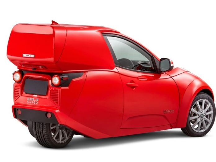 ElectraMeccanica designs three-wheeled Solos for commercial use. Cargo EV