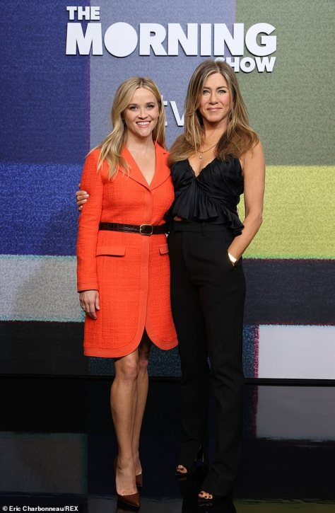 Two of a kind: Reese Witherspoon and Jennifer Aniston were seen attending a photocall for The Morning Show at the Four Seasons Hotel in Beverly Hills
