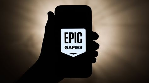 Epic Games logo seen on an iPhone