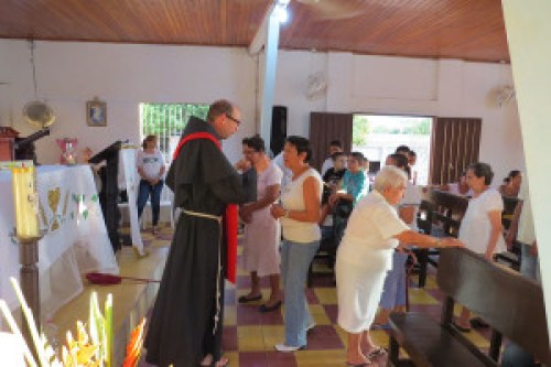 While attending meetings for the Americas Project, Friar Michael Lasky, OFM Conv. celebrates Mass at a mission church which is part of the Parish of St. Clare in Corozal, Columbia.