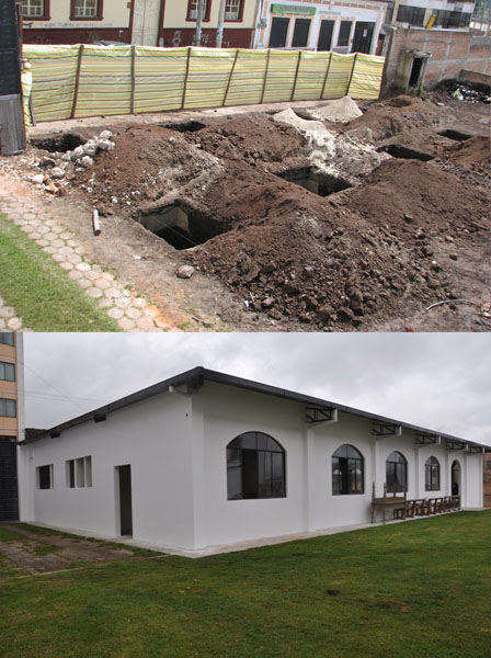 Before and after pictures of Noah's Ark, the Center for Integral Development that helps educate and care for the poor and disabled children of Tulcan, Ecuador.