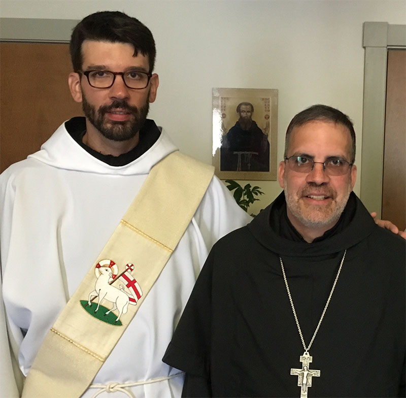 It is with praise and gratitude to the Most High God that the Friars joyfully celebrated the ordination to the Holy Priesthood of our brother, Friar Nicholas John Rokitka, OFM Conv. conferred by Bishop John Eric Stowe, OFM Conv. of the Roman Catholic Diocese of Lexington, Kentucky on June 25, 2016 at St. Casimir's Church in Baltimore, Maryland. The day was filled with great joy and fraternity, as friars, family and friends from all over the province and beyond gathered in celebration. Pictured here are the newly ordained Fr. Nicholas, Bishop Stowe, and Fr. Bryan Hajovsky, OFM Conv.  Please pray for Father Nick in his priestly ministry!