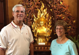 In April 2016, Companions Jay and Jean Dugas from Albuquerque, New Mexico visited the Shrine of St. Anthony in Ellicott City, Maryland. Here they are pictured with the major relic of St. Anthony housed at the Shrine, which they had an opportunity to venerate during their visit.