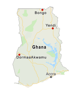 Map illustrating in red the locations of the three new wells in Ghana.