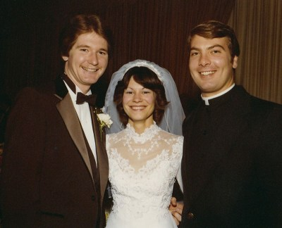 Bishop Hartmayer stays in touch with many of the young men he mentored as a teaching friar, officiating their weddings, baptising their children and grandchildren and serving other spiritual needs. (Pictured above, Bishop Hartmayer with Archbishop Curley graduate Christopher Furst and his wife Ann, after he officiated their wedding in 1979.)