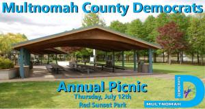 MCD Annual Picnic, Thursday July 12, Red Sunset Park, Gresham, OR