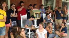 Peer Writing Consultants visit the Ginsberg Center Little Free Library