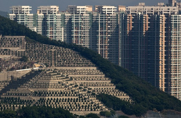 Grave yard within the city of Hong-Kong