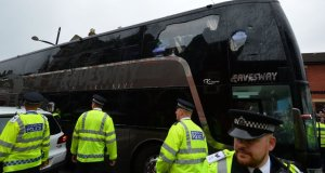 west - Man utd's bus that was attacked by West Ham fan's