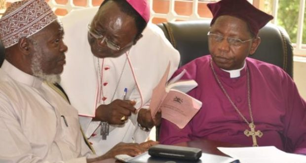 The clerics that rejected the age limit removal include; Shaban Ramadhan Mubaje, (left) Anglican Archbishop Stanley Ntagali,(left) Catholic Archbishop for Kampala Dr Cypriant Kizito Lwanga,(middle