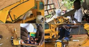 16 Year Old Talented Boy Builds Excavator Using Syringe And Wood