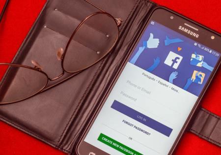 A Facebook app on a cellphone