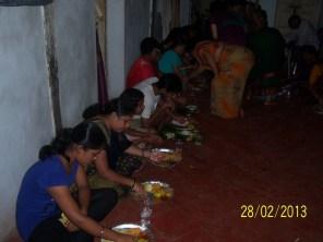 Girls enjoying the meal