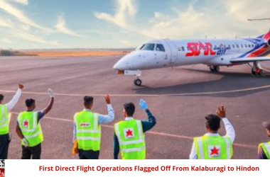 First Direct Flight Operations Flagged Off From Kalaburagi to Hindon