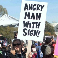 Angry Man With Sign 200C
