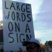 large words on a sign 200c