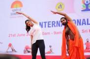 Shilpa Shetty Performing Yoga Postures with Shwaasa Guru Shree Vachananda Swamiji