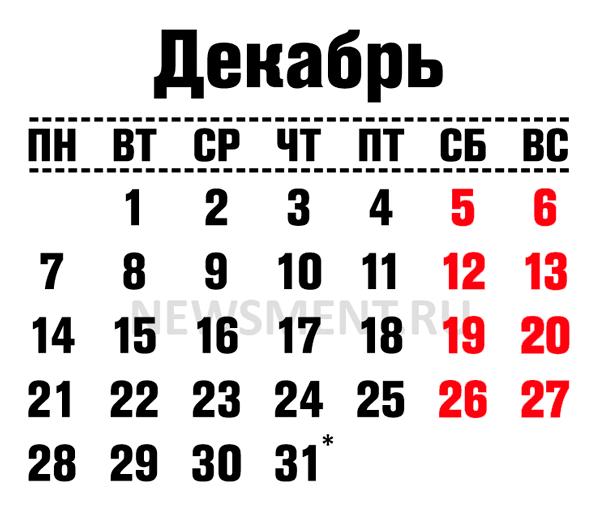 Как мы отдыхаем в декабре 2020 года - рабочий график на предновогодние дни
