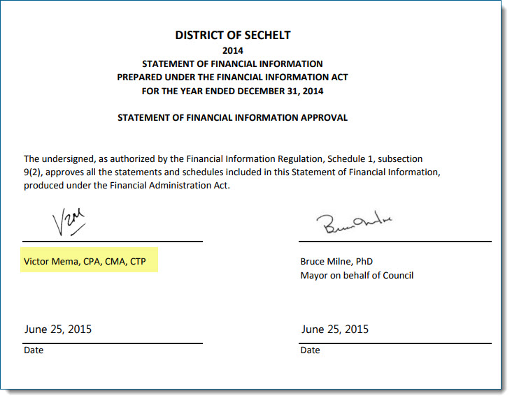 Mema signed this Sechelt report using the CPA designation a day after the law took effect