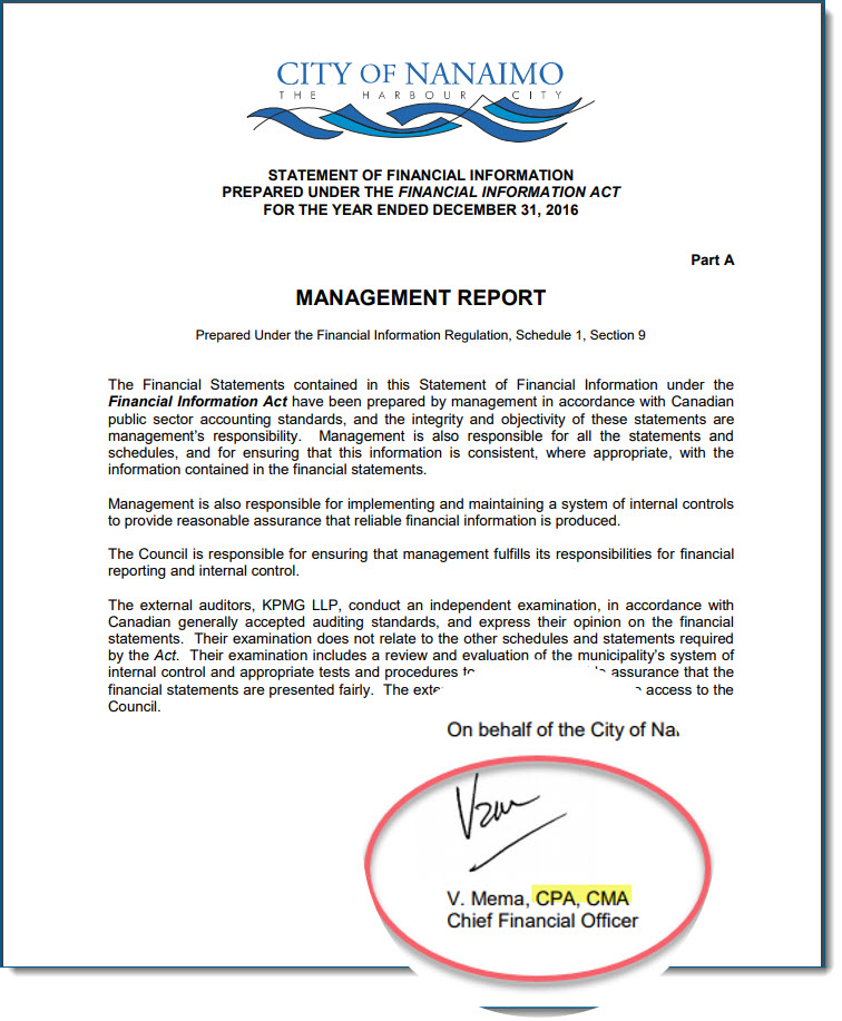 Victor Mema regularly signs Nanaimo's financial reports with the CPA designation he is not allowed to use in BC