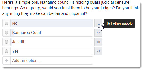 Facebook poll on censure