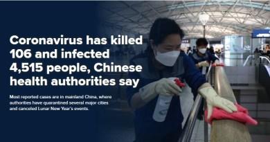 Corona Virus has killed 106 people in China