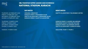 Pakistan Super League 5 Schedule 2020