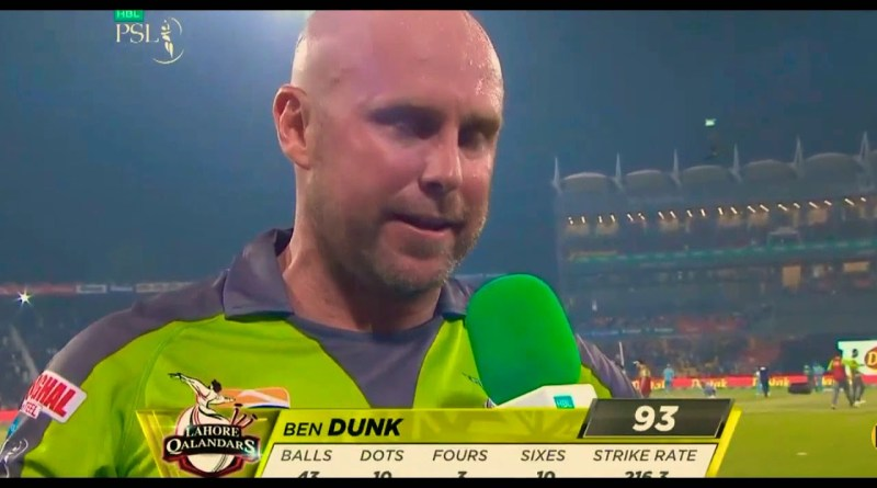 Ben Dunk Sixes in PSL 5 Against Lahore
