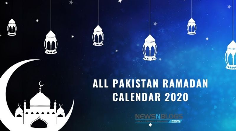 All Pakistan Ramadan Calendar 2020
